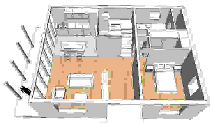 Casa cotttage en madera. distribucion de Estudo de Arquitectura Denís Gándara