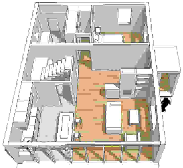 Casa cotttage en madera. distribucion II de Estudo de Arquitectura Denís Gándara