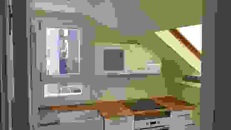 Cocina en bajocubierta. Frente y ventana Cocinas modernas: Ideas, imágenes y decoración de Estudo de Arquitectura Denís Gándara Moderno Cobre/Bronce/Latón
