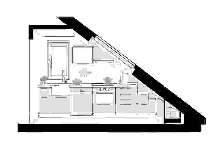 Cocina en bajocubierta. alzado. de Estudo de Arquitectura Denís Gándara Moderno