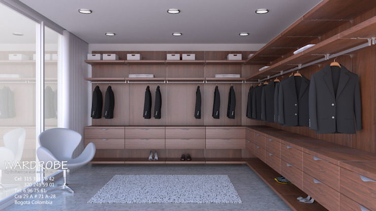walk in closet Vestidores de estilo moderno de WARDROBE Moderno Aglomerado