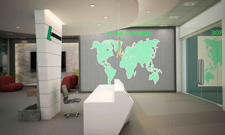 Lafarge Showroom, Iraq Modern offices & stores by Schaffen Amenities Private Limited Modern