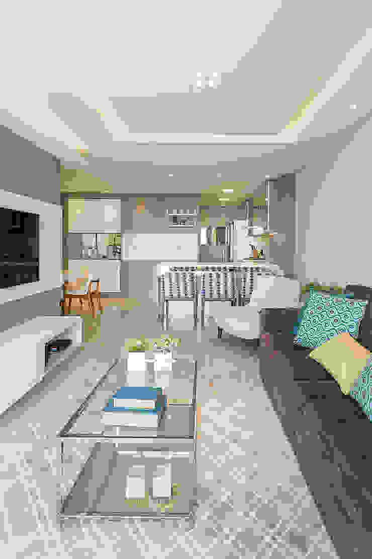 Projeto CV Juliana Agner Arquitetura e Interiores Salas de estar modernas Azul