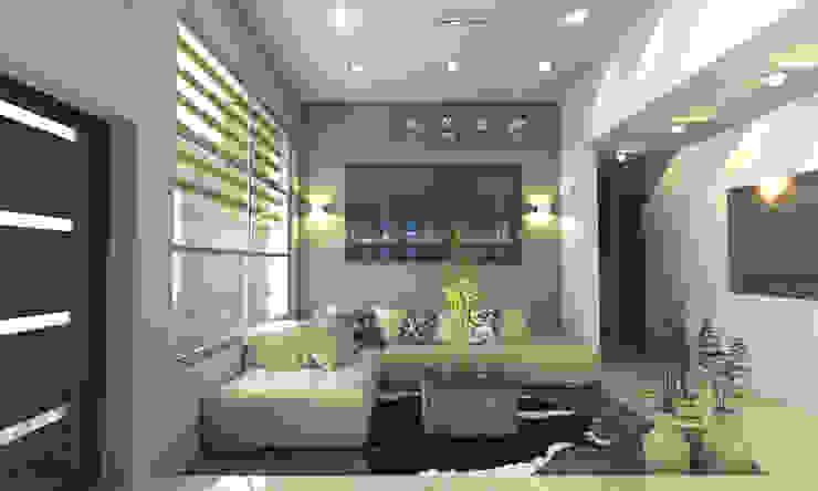 SALA PRINCIPAL Salones de estilo moderno de OLLIN ARQUITECTURA Moderno Aluminio/Cinc