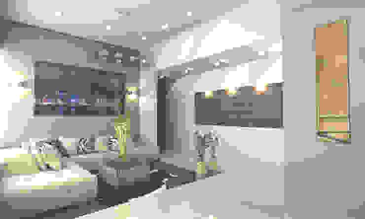CORREDOR PRINCIPAL Salones modernos de OLLIN ARQUITECTURA Moderno Madera Acabado en madera