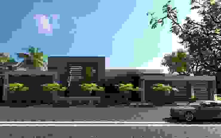 FACHADA DE RESIDENCIA Casas modernas de OLLIN ARQUITECTURA Moderno Concreto