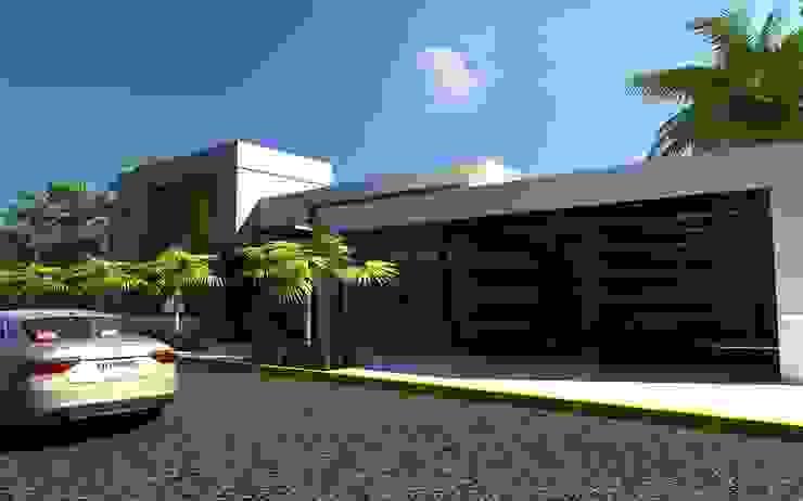 FACHADA RESIDENCIA Casas modernas de OLLIN ARQUITECTURA Moderno Concreto