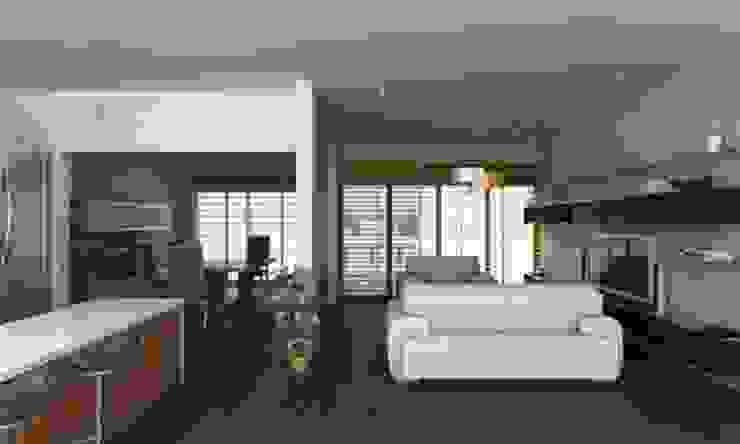 PENTHOUSE Salones modernos de OLLIN ARQUITECTURA Moderno Madera Acabado en madera