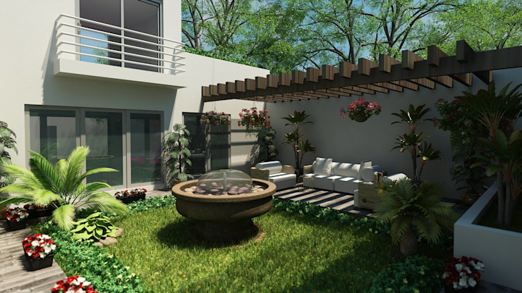 Modern style gardens by OLLIN ARQUITECTURA Modern Concrete