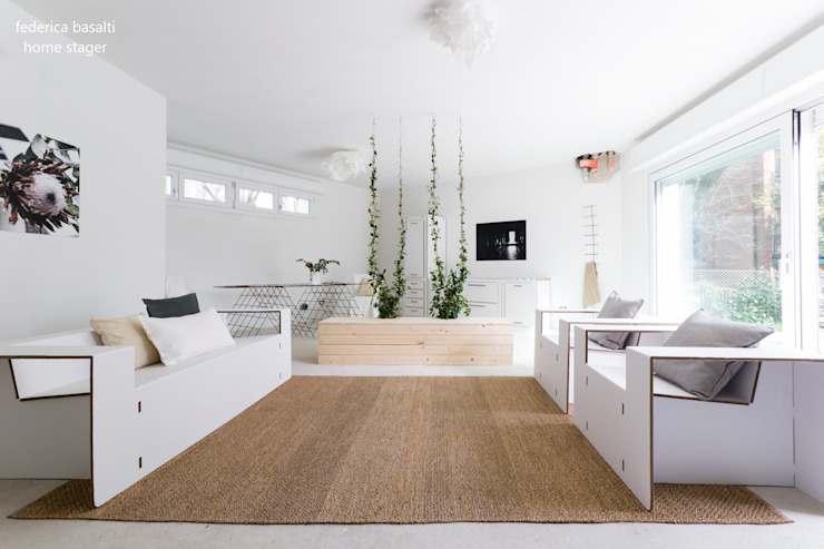 federica basalti home staging Salon scandinave Blanc
