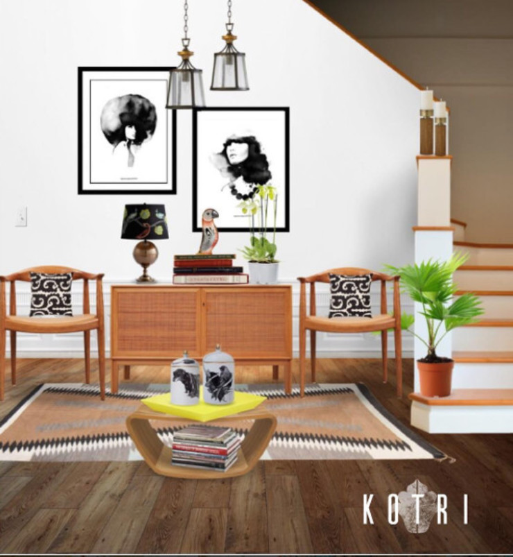 VISUALIZED PROJECTS Rustic style living room by Devyani Kumari Lifestyle & Designs Rustic Wood Wood effect