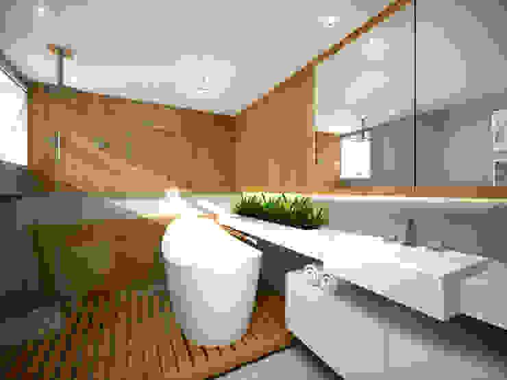 Minimalist style bathroom by ecco! archi sudio Minimalist Wood Wood effect