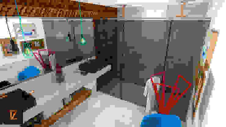 Thiago Zuza Design de interiores モダンスタイルの お風呂 コンクリート 白色