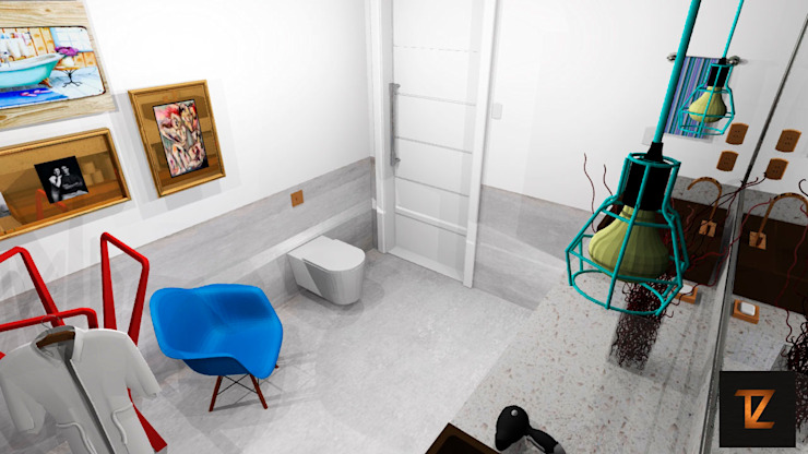 Thiago Zuza Design de interiores モダンスタイルの お風呂 ターコイズ