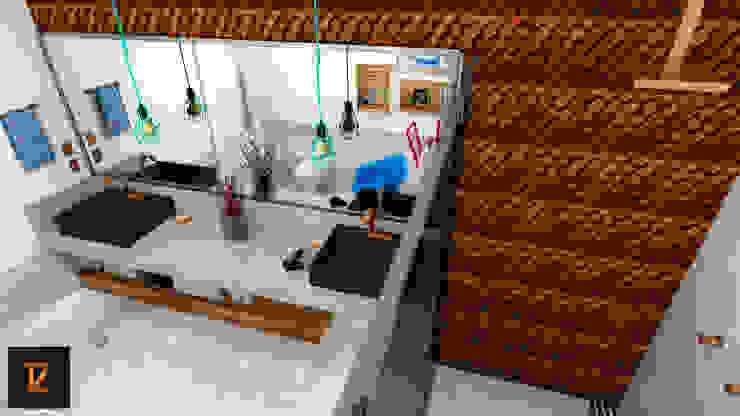 Thiago Zuza Design de interiores モダンスタイルの お風呂 セラミック 灰色