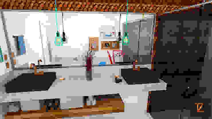 Thiago Zuza Design de interiores モダンスタイルの お風呂 銅/ブロンズ/真鍮 木目調
