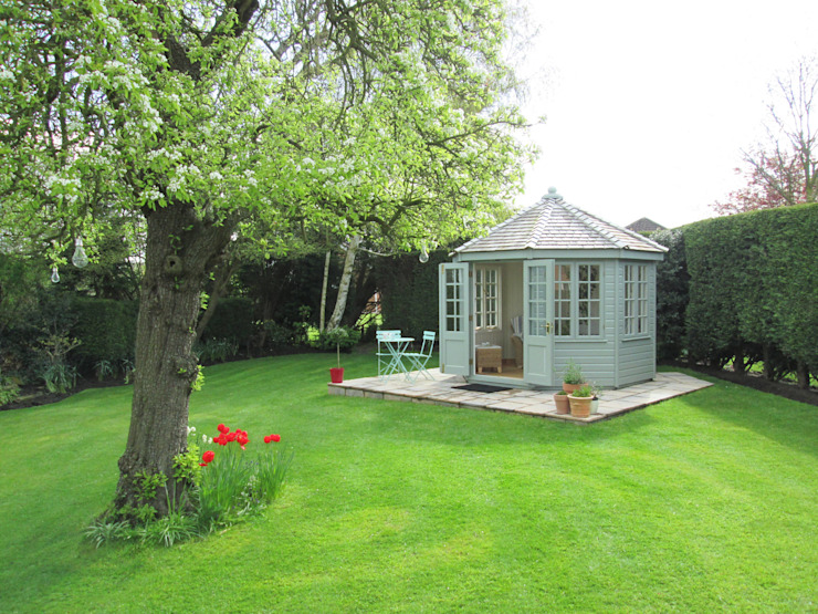 Wiveton Summerhouse with Weathered Cedar Shingles CraneGardenBuildings Garages & sheds