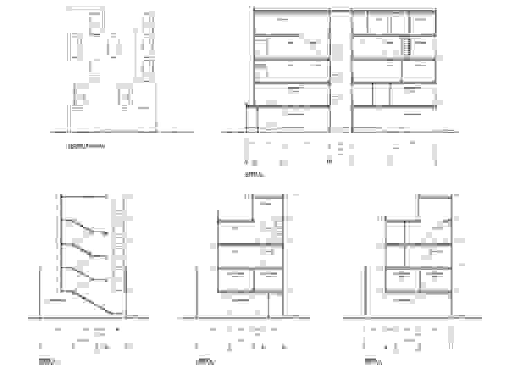 Fachadas y Cortes arquitectónicos Casas minimalistas de HMJ Arquitectura Minimalista