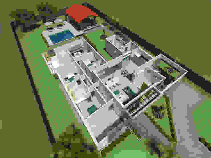 Perspectiva aérea del interior Arquitecto Pablo Restrepo Casas de estilo moderno