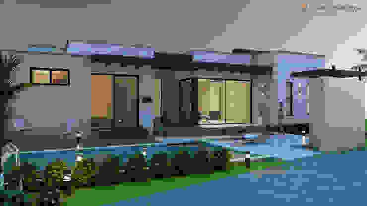 Fachada lateral izquierda - zona humeda Casas modernas de Arquitecto Pablo Restrepo Moderno
