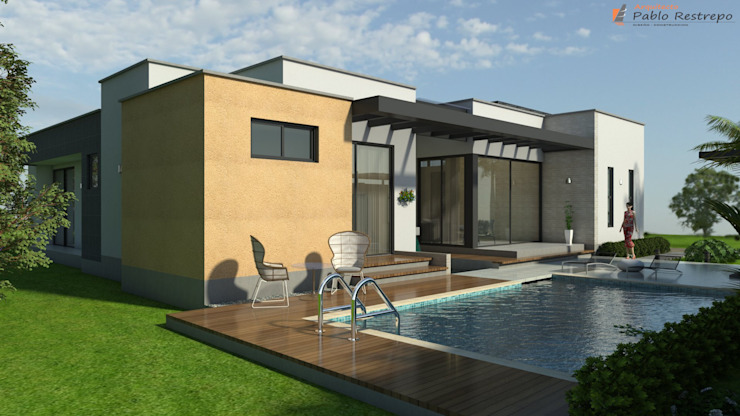 Zona húmeda, piscina, deck Piscinas de estilo moderno de Arquitecto Pablo Restrepo Moderno
