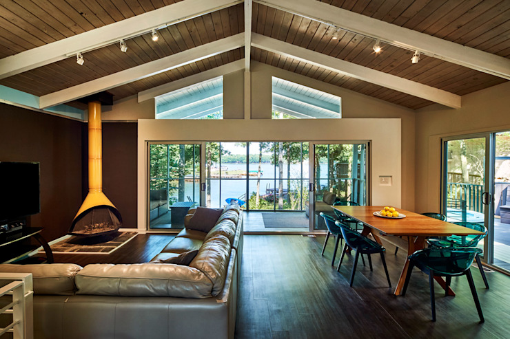 Lake House Modern Living Room by KUBE architecture Modern