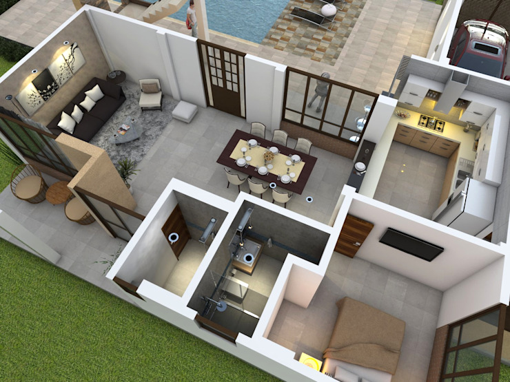 Vista aérea - diseño interior Casas de estilo clásico de Arquitecto Pablo Restrepo Clásico