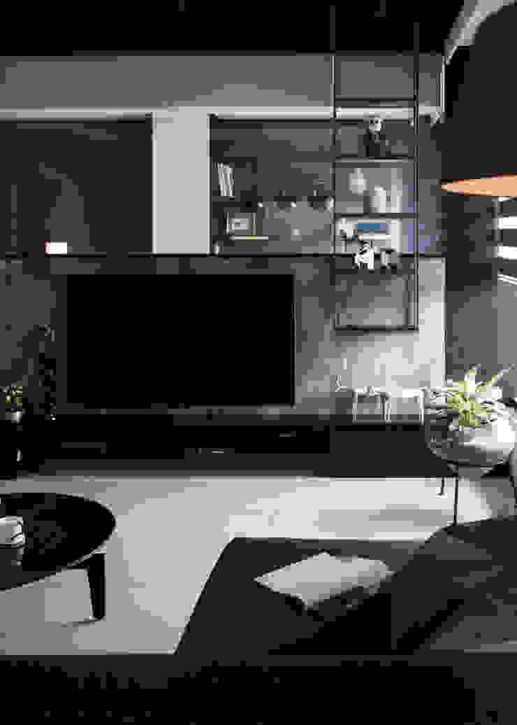 灰與白的律耀 现代客厅設計點子、靈感 & 圖片 根據 大丘國際空間設計 ABMIDS 現代風