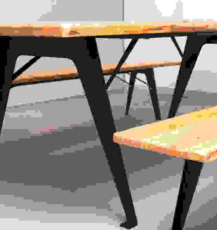 Mesa e bancos corridos LIS Espaços comerciais modernos por ORCHIDS LOFT by Alexandra Pedro Moderno Madeira maciça Multicolor