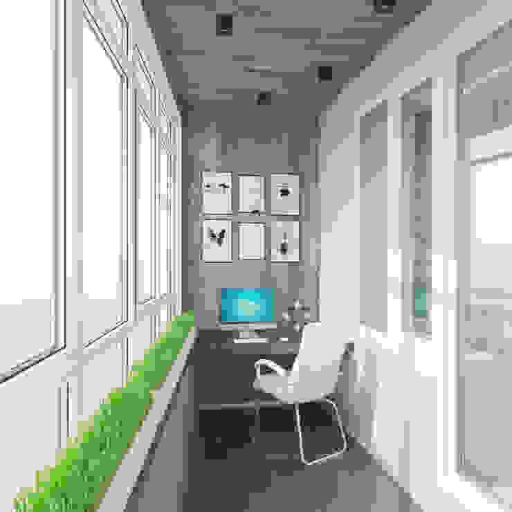 ДОМ СОЛНЦА minimalist style balcony, porch & terrace