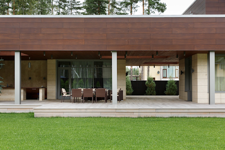 Balcones y terrazas modernos de Студия дизайна интерьера в Москве 'Юдин и Новиков' Moderno