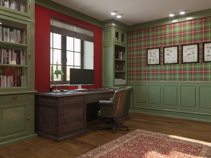 Colonial style study/office by ДОМ СОЛНЦА Colonial