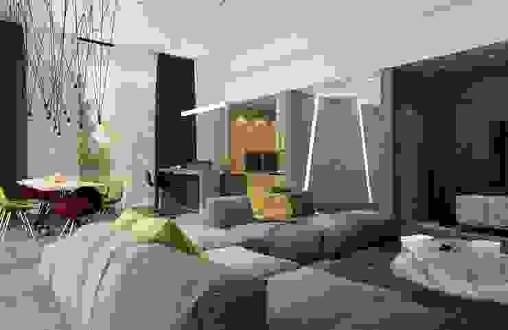 Moderne Wohnzimmer von Студия дизайна интерьера в Москве 'Юдин и Новиков' Modern