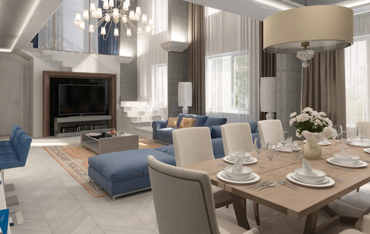 Dining room by Студия дизайна интерьера в Москве 'Юдин и Новиков',