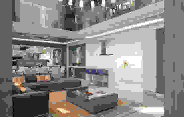 Living room by Студия дизайна интерьера в Москве 'Юдин и Новиков',