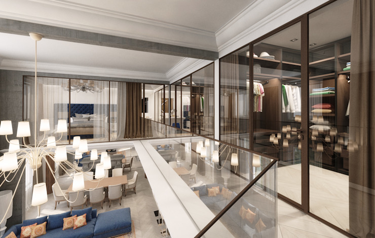 Modern Corridor, Hallway and Staircase by Студия дизайна интерьера в Москве 'Юдин и Новиков' Modern