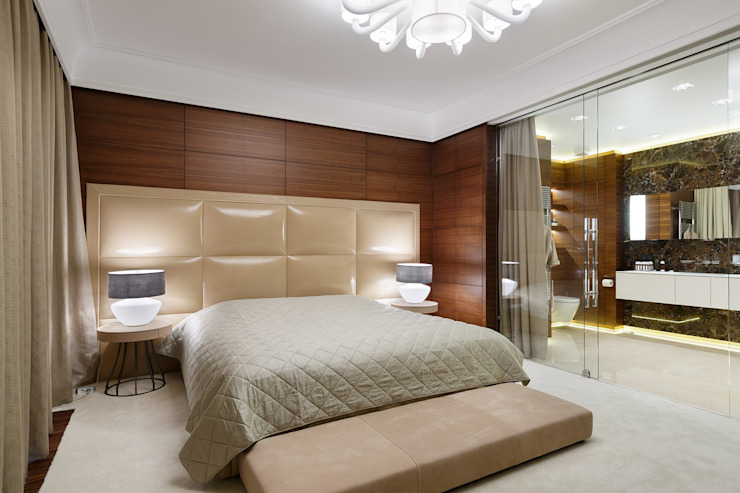 Dormitorios de estilo moderno de Студия дизайна интерьера в Москве 'Юдин и Новиков' Moderno