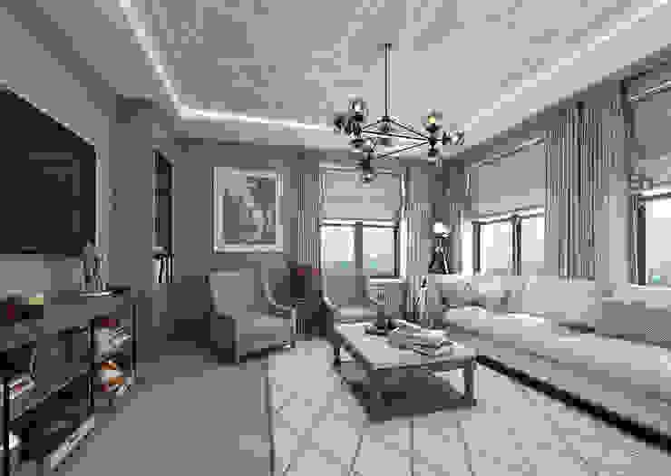 Salon de style  par Студия дизайна интерьера в Москве 'Юдин и Новиков', Moderne