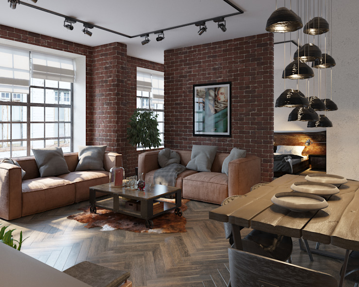 Industrial style living room by ДОМ СОЛНЦА Industrial