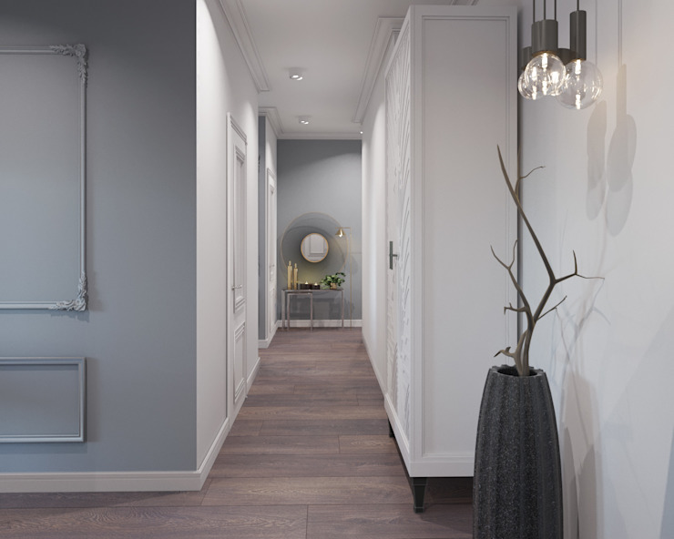 Classic style corridor, hallway and stairs by ДОМ СОЛНЦА Classic