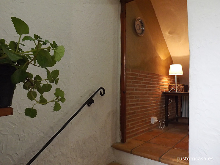 custom casa home staging Mediterranean corridor, hallway & stairs