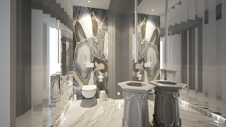 WC Klasik Banyo Oda Tasarım İçmimarlık Klasik Mermer