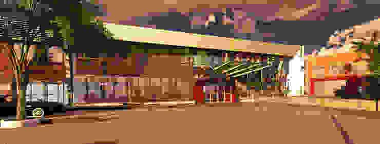 DISEÑO FACHADA RENDERS Estudios y oficinas modernos de LOSADA ARQUITECTURA Moderno Vidrio
