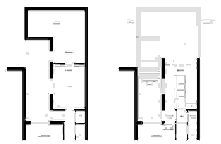 Plattegrond voor en na van Gaby Paulissen Architect