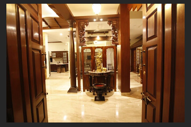 Srinivas house in Bangalore Classic style corridor, hallway and stairs by montimers Classic