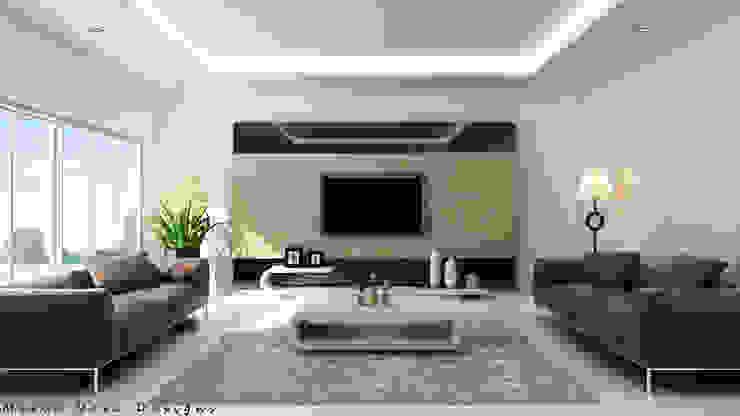 现代客厅設計點子、靈感 & 圖片 根據 Mirva Vora Designs 現代風