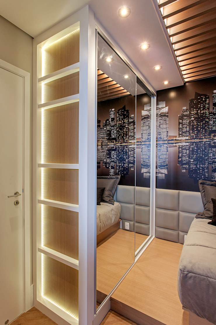 Apartamento Jundiaí Quartos modernos por Designer de Interiores e Paisagista Iara Kílaris Moderno Madeira Efeito de madeira
