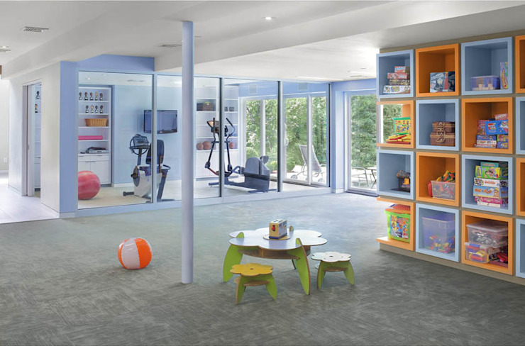 Basement Renovation—Ardsley House Modern Gym by Eisner Design Modern