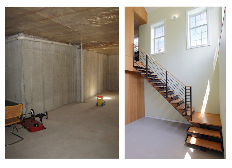 Basement Renovation—Ardsley House Modern Corridor, Hallway and Staircase by Eisner Design Modern