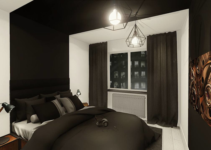 Industral apartment Industrial style bedroom by KOKON zespół architektoniczny Industrial